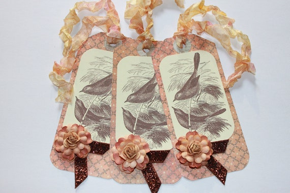 Brown birds in tree vintage graphic tag with hand dyed ribbon and flower