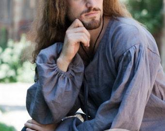 Classic Mens Shirt; medieval long sleeve shirt; medieval tunic; mens tunic