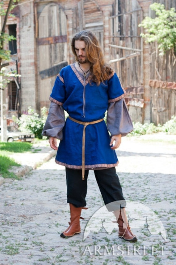 15% DISCOUNT! Medieval Short Sleeve Tunic; mens medieval tunic; sca tunic; summer tunic
