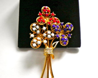 Patriotic  Red, White & Blue Vintage Fireworks Flower Brooch Pin