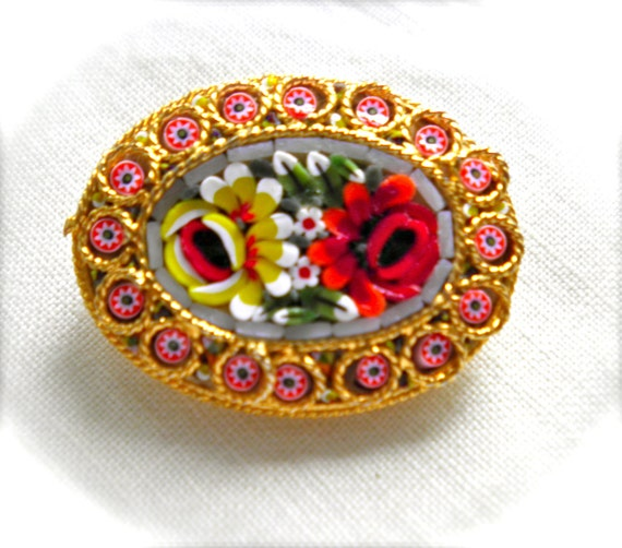 Vintage MOSAIC BROOCH PIN Floral Design Tiles in Cameo Style