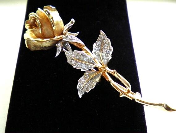 Vintage BOUCHER 7877P long stem rose brooch pin