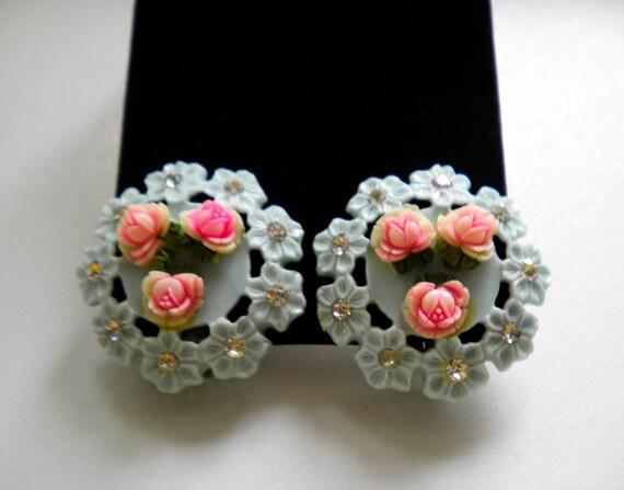 Vintage Celluloid & Rhinestone plastic Floral Earrings