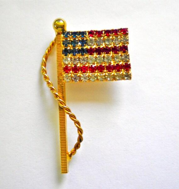 Vintage Patriotic Flag Red, White & Blue Rhinestones Brooch Pin