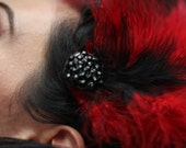 RESERVED - Red and black large burlesque showgirl ostrich feather crystal clip hair fascinator