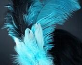 Blue Turquoise and Black Swarovski Ostrich Fascinator for Burlesque or Showgirl