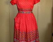 Modern Pastimes BRIGHT red vintage house dress, medium