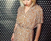 Vintage Clothing / Brown Honey 80s Dress / Fall Fashion / Floral Dress / Free Shipping