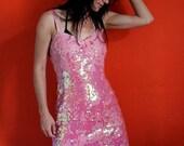 Vintage Dress / 80s Dress / Vintage Sequin Dress / Pink Party Dress
