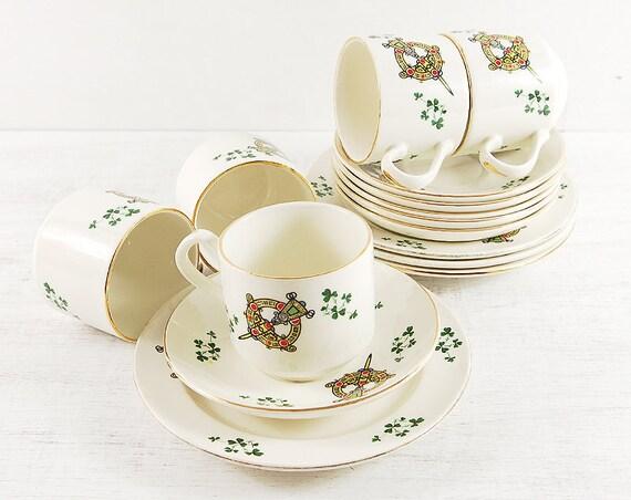 Tara Brooch Celtic Tea Set. Carrigaline Pottery Cup Saucer Plate. Irish Pottery Ireland Shamrock Gold White Green celtic 12 Pieces