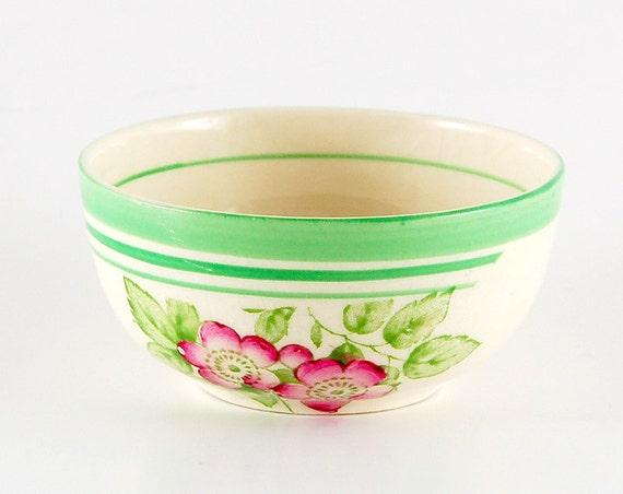 Small Vintage Bowl. Teeny Green Cream Dish. Solian Ware Soho Pottery. Pink Floral Dish. Finger Bowl
