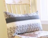 Quilted Lumbar Pillow Cover - Black and White - April in Paris - French Country - White Vintage Lace