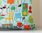 35%OFF - Retro Pillow Cover - Aqua Throw Pillow - Vintage Chairs - Classroom Playroom Decor - 18x18 Child's Pillow - 16x16 Pillow Cover