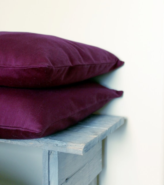Raspberry, Plum, Magenta, Violet, Wine Colored 16 x 16 Twill Pillow Cover