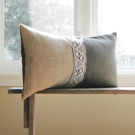 Burlap Pillow Cover - 12 x 22 Lumbar - Green Pillow Cover - Lace Decorative Pillow Cover