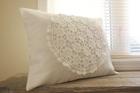 Cream  Off-white Natural Linen 12 x 16 Decorative Throw Pillow Cover