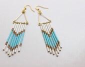 turquoise beaded boho aztec earrings