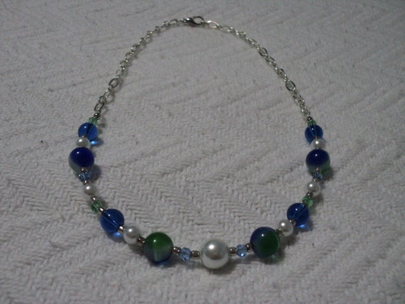 silver, blue and green beaded cat's eye necklace