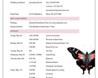 Destination Wedding Itinerary & Welcome Package Template