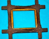 "50% OFF COUPON - Vintage wooden tramp art frame with decorative corner accents 4"" X 5"""