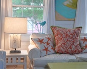 Tangerine Coral Pillow with Lime Green trim