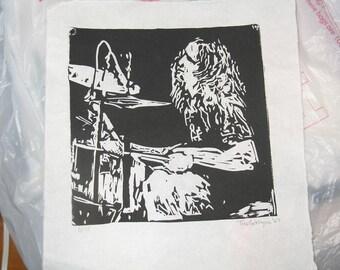 Drummer black and white linocut print