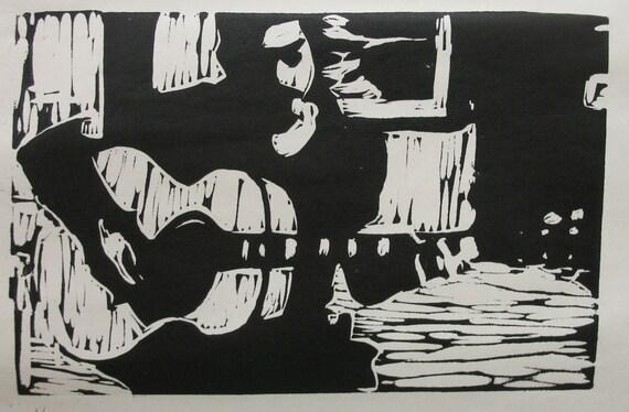 Andy Skib linocut print (black and white)
