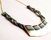 Brass Necklace - Braided Leather Necklace - Mixed Media Jewelry