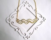 Brass Chevron Necklace - Long Necklace Great for Layering - Gold Chevron Ladder Necklace