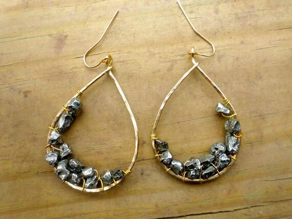 Teardrop Earrings - Pyrite and Gold Beaded Teardrops - Earthy Jewelry