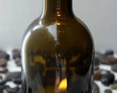 wine bottle hurricane candle holder, 100% recycled glass