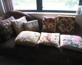 8 Vintage Pillows Crewel Embroidery Needlepoint Embroidered Quail Egyptian Floral Velvet Cotton Minerva Haiti Flowers Hieroglyphics pillow