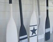 """36"""" Navy Blue Distressed Paddle/ Oar with White Stripes"""
