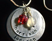 Hand-stamped Mother's Necklace - Silver, Personalized Pendant with Children's names and birthstones