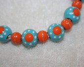 Hand Painted Pacifier Holder / Clip in Blue and Orange mod dotz
