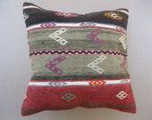 VINTAGE Decorative KILIM PILLOW Cover, Kilim Pillow - 16 x 16 Inches - Turkish Pillow - Ethnic Pillow - Tribal Pillow - Home Decor