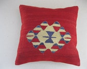 """Modern Bohemian Home Decor , Embroidered Handwoven Striped Vintage Tribal Turkish Kilim Pillow cover 18"""" x 18"""""""