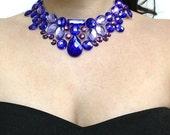 bib necklace purple bib necklace rhinestone magical ghost necklace purple bridal necklace unique necklace bridesmaid necklace