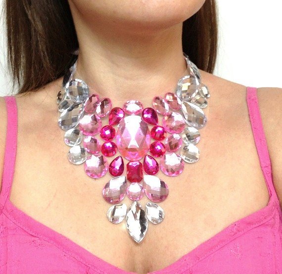 bridesmaid bib necklace pink white party necklace pink prom necklace pink fucshia white bridal necklace 3 color necklace
