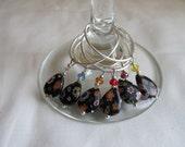 Set of 6 Black Tear-Drop Wine Glass Charms