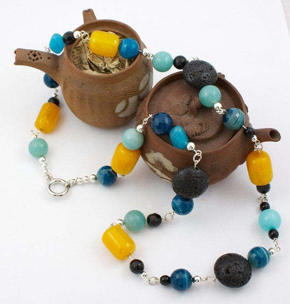 Summer necklace - agate, amazonite, onyx and sterling silver long necklace