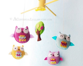 Owl Baby Mobile, Baby Girl Mobile, Purple Yellow Light Blue, Owl and Tree, Woodland Mobile, Owl Nursery Decor