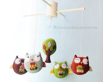 Woodland Owl Baby Mobile, Woodland Colors, Owl and Tree, Embroidery Details, Felt Baby Mobile, Owl Nursery Decor