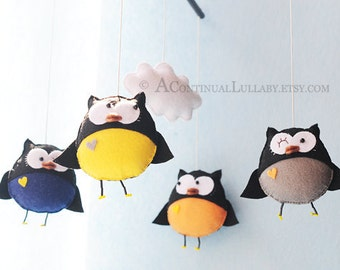 Owl Baby Mobile, Owl and Cloud, Navy Yellow Orange Grey, Baby Boy Mobile, Felt Owl Mobile, Owl Nursery Decor