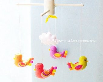 Fancy Birds Baby Mobile, Baby Girl Mobile, Birds and Cloud, Purple Coral Yellow Orange, Baby Mobile Birds