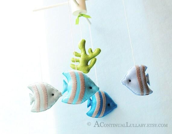 Tropical Fish Baby Mobile, Ocean Baby Mobile, Under the Sea, Sea Animal Ocean Nursery Decor, Ocean Nursery, Nautical Baby Mobile