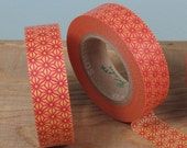 Washi Tape Roll with Japanese Star Pattern in Orange and Red