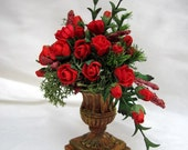 Red Rose Arrangement in Traditional Moss Aged Terracotta Urn