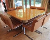 Fabulous Milo Baughman Burled Olivewood and Chrome Dining Table