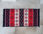 Folklore Red & Blue Cotton Rug, embellished with traditional Greek patterns